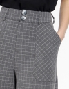 Wide-Leg Checked Pants