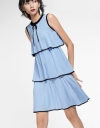 Sleeveless Cascading Shift Knit Dress