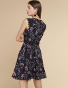 Printed Lace-Trimmed A-Line Dress