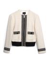 Tweed Jacket With Color Block Panel