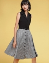 Midi Dress With Contrast Houndstooth Skirt
