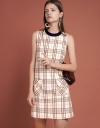 Checked Shift Dress With Pockets