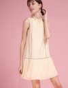 Cut-Out Shift Dress With Pleated Hem
