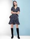 Belted A-Line Dress With Ruffled Hem
