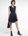 Checked A-Line Dress With Pleated Hem
