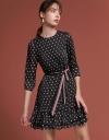 Belted Printed Dress With Gathered Layer