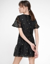 Mesh-Trimmed Embroidered A-Line Dress