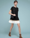 Shift Dress With Color Block Pleated Hem