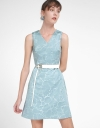A-Line Jacquard Dress With Belt