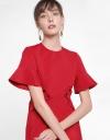 Sleeved Midi Dress With Waist Panel