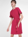 Sleeved Shift Dress With Belt
