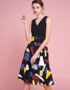 A-Line Midi Dress With Contrast Print Skirt
