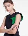 Sleeveless Top With Color Blocked Ruffles