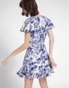 Sleeved Printed Dress With Waist Panel