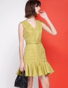 A-Line Tweed Dress With Belt