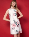 Embroidered Floral Printed Shift Dress