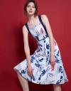 Cold-Shoulder Floral Printed Dress