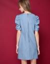 V-Neck Denim Dress With Ruched Sleeves
