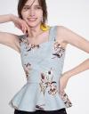 Cold-Shoulder Floral Printed Top