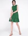 Sleeveless Dress With Layered Gathered Hem