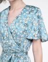 Sleeved Printed Dress With Pleated Hem
