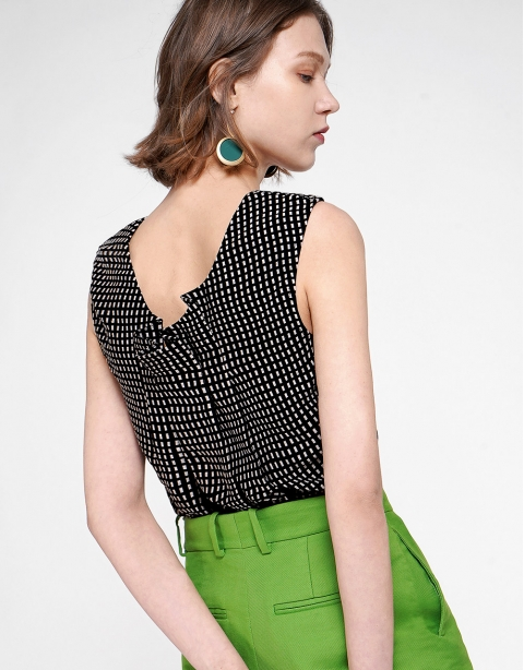 Sleeveless Top With Gathered Back