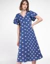Puff Sleeved Polka Dotted Midi Dress