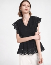 Embroidered Top With Gathered Hem