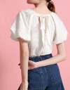 Jacquard Top With Puff Sleeves