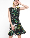 Lace-Trimmed Printed Midi Dress