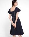 Capped Sleeved V-Neck Midi Dress