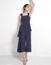 Strappy Dotted Jumpsuit With Ruffles