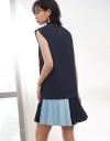 Shift Dress With Color Block Hem
