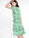 Sleeved Printed Ruffled Dress