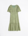 Sleeved A-Line Dress With Button Front