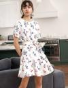 Sleeved Round Neck Printed Dress