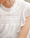 Embroidered Top With Ruffles
