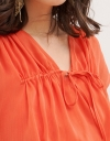 Capped Sleeved Top With Gathered Detailing