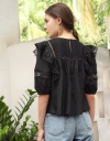 Sleeved Embroidered Top With Ruffles