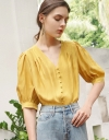Sleeved Blouse With Button Front