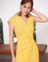 Gathered Fitted Dress With Asymmetric Shoulders