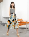 Strappy Midi Dress With Printed Skirt
