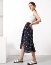 Printed Midi Skirt With Split Hem