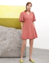 Sleeved A-Line Dress With Pleated Detail