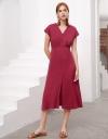Capped Sleeved Midi Dress