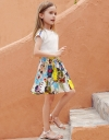 Smocked Dress With Printed Skirt