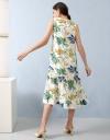 Printed Gathered Midi Dress