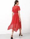 Printed Midi Dress With Asymmetric Hem
