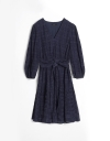 Long Sleeve Tied Front Dress With Ruffles