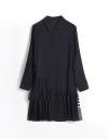 Long Sleeve Shirt Dress With Gathered Hem